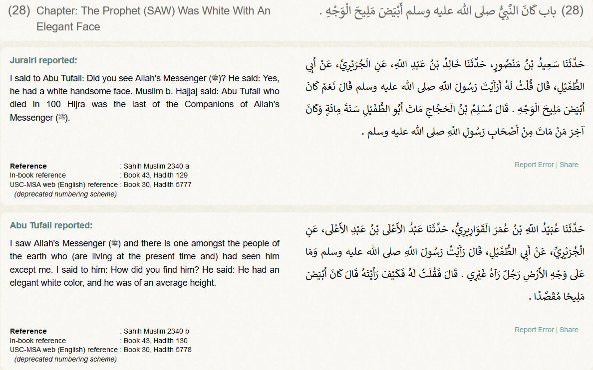 Islam: the ultimate white supremacist movement! The Book of Virtues - Sahih Muslim 2340 white with elegant face