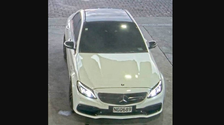 Police seek white Mercedes